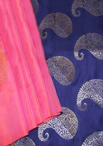 Light Pink With Navy Blue Mayuri Soft Silk Saree - FL87422 ARRS Silks