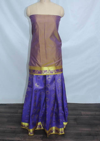 Light Purple Shade With Dark Violet Coloured Pattu Pavadai Material - FP4326 (Size:  13Yrs to 18Yrs) ARRS Silks