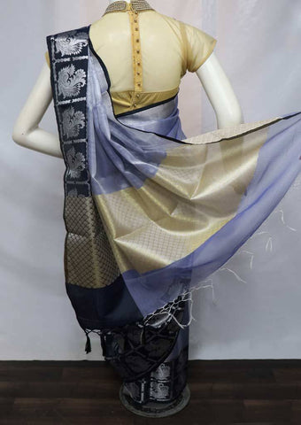 Light Purple with Black Organza Cotton Sarees- FV26089 ARRS Silks