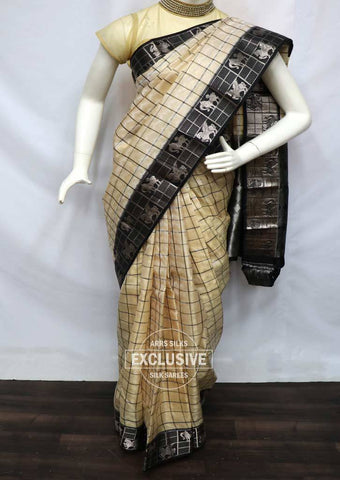 Light Sandal With Black Kanchipuram Silk Saree - 9KA3599 ARRS Silks
