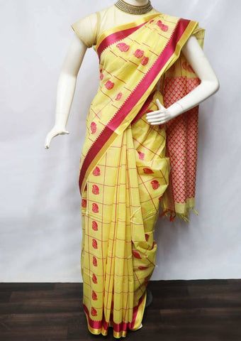 Light Yellow with Pink Pure Silk Cotton Saree - FV10374 ARRS Silks