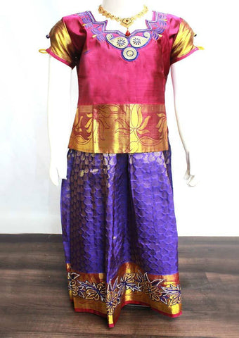 Magenta Readymade Pure silk pavadai  - FP14285 (Age - 5 years) ARRS Silks