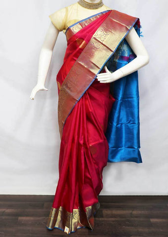 Magenta Red With Sky Blue Kanchipuram Silk Saree -FS24962 ARRS Silks