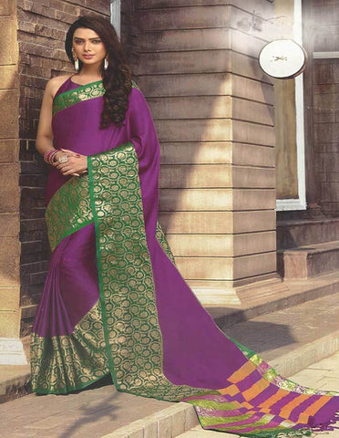 Magenta With Green  Aara Cotton Saree - FG3348 ARRS Silks