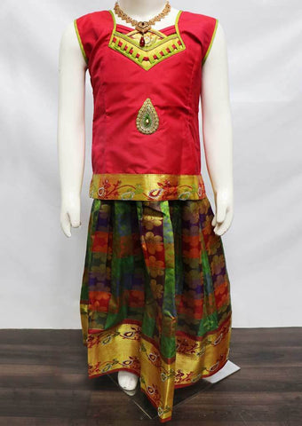 Magenta with Green  Pattu Pavadai - FU3316 (Size: 6 Years) ARRS Silks