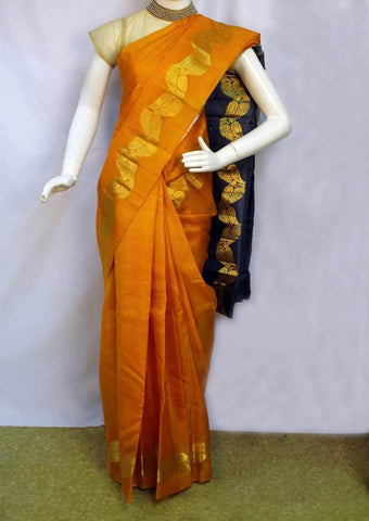 Mango Orange with Gray Kanchipuram Silk Saree - FM92696 ARRS Silks