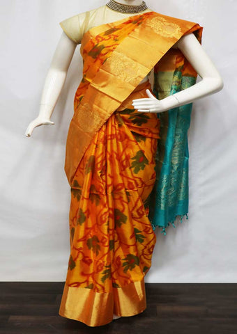 Mango Orange With Rexona Blue Soft Silk Saree - GE40127 ARRS Silks
