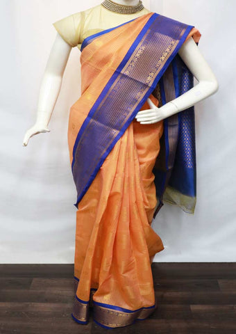 Mango Yellow Color Silk Cotton Saree - GE31268 ARRS Silks