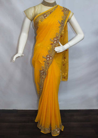 Mango Yellow Designer Saree-FP2072 ARRS Silks