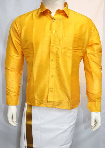 Mango Yellow Full Hand Silk Cotton Shirt - FO77837 ARRS Silks