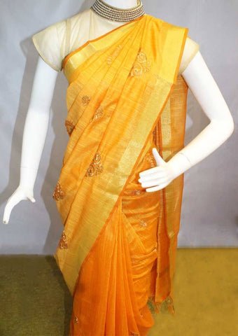Mango Yellow Linen Saree - FL39440 ARRS Silks