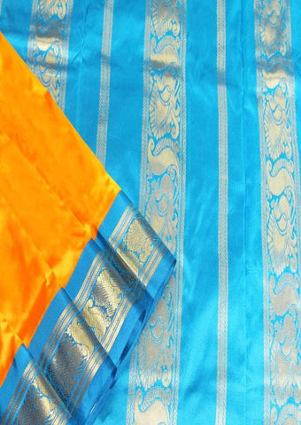 Mango Yellow with Anandha Blue Color 9.5 Yards Silk Saree - FO89643 ARRS Silks