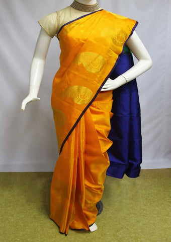 Mango Yellow with Blue Kanchipuram Silk Saree-EV1007 ARRS Silks