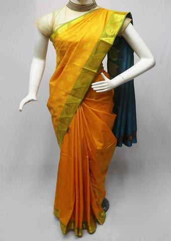 Mango Yellow with Blue Semi Silk Saree- FN11646 ARRS Silks