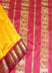 Mango Yellow with Maroon Color 9.5 Yards Silk Saree - FO89642 ARRS Silks