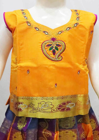 Mango yellow with Multi color Pattu Pavadai - FR21838  (Size : 8 Years ) ARRS Silks