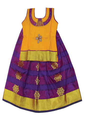 Mango Yellow With Violet Art Silk Pavadai