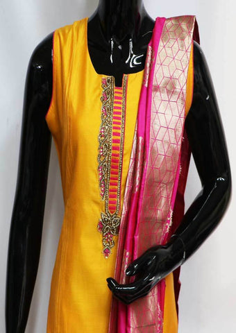 Mango Yellow With Pink Straight Cut Readymade Salwar- NCU36728 ARRS Silks