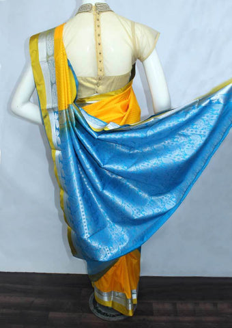 Mango Yellow with Sky Blue Semi Silk Saree- FM28986 ARRS Silks