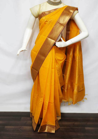 Mango Yellow With Violet Silk Cotton Saree - FU49068 ARRS Silks