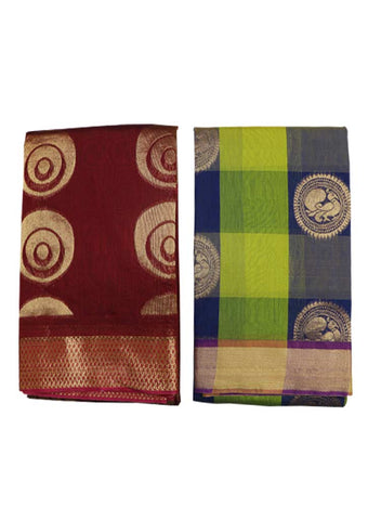 Maroon and  Multi color Silk Cotton Saree (BUY 1 GET 1) - GB112559, GB112402 ARRS Silks