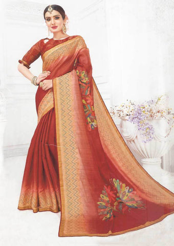 Maroon Color Linen Saree - FS17768 ARRS Silks