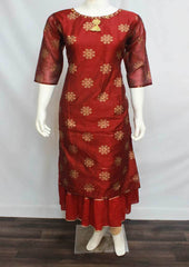 Maroon Colour and Printed Rayon Crep Kurti - FL56145 ARRS Silks