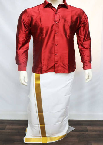 Maroon  Full Hand Silk Cotton Shirt - FT5856 ARRS Silks