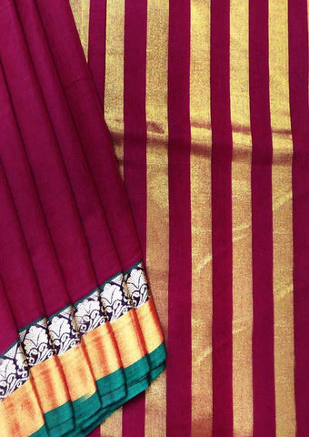 Maroon Pure Cotton 9.5 yards Saree - FT13323 ARRS Silks