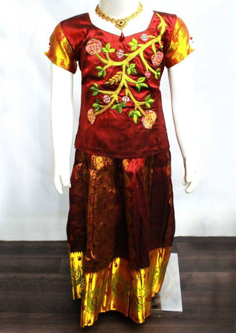 Maroon Readymade Pure silk pavadai  - ER1173 (Age - 8 years) ARRS Silks