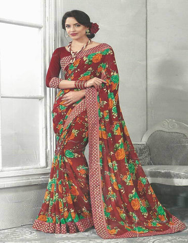 Maroon Synthetic Saree - EW5929 ARRS Silks
