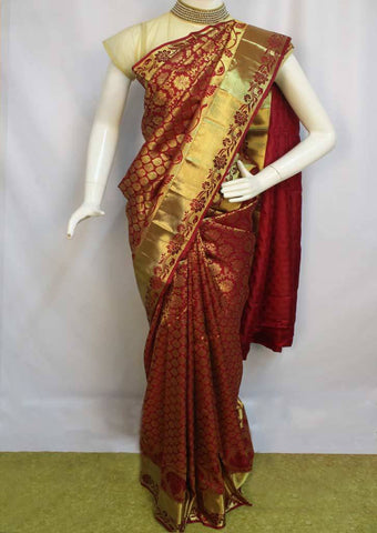 Maroon Wedding Silk Saree - EW11802 ARRS Silks