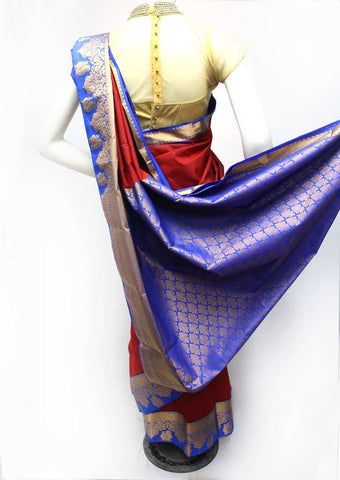 Maroon with Blue Semi Silk Saree- FR98475 ARRS Silks