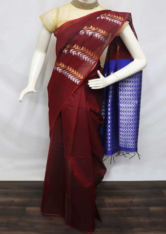 Maroon with Blue Silk Cotton Saree - GE21215 ARRS Silks