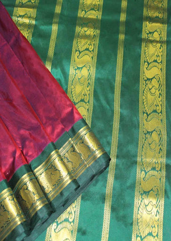 Maroon with Dark Green Color 9.5 Yards Silk Saree - FO89641 ARRS Silks