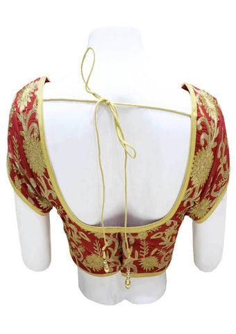 Maroon with Gold  Readymade Blouse-FH5368 ARRS Silks