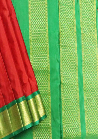 Maroon with Green 9.5 Yards Silk Saree - FT20318 ARRS Silks