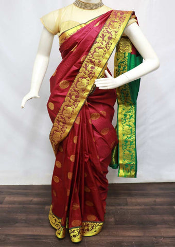 Maroon with Green Semi Silk Saree  - GG332 ARRS Silks