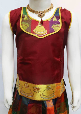 Maroon with Multi color Pattu Pavadai - FR21883 (Size: 6 Years) ARRS Silks