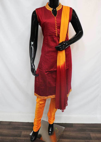 Maroon with Orange Straight Cut  Readymade Salwar-FP35238 ARRS Silks