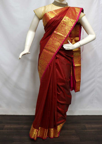 Maroon with Pink  semi silk saree  - FQ96838 ARRS Silks