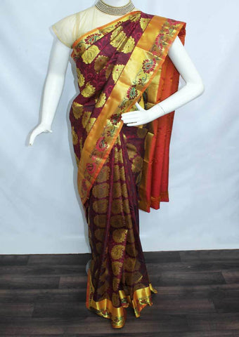 Maroon With Pink Shade Semi Silk Saree- FN68484 ARRS Silks