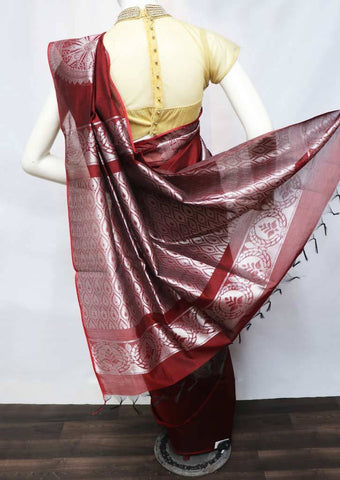 Maroon with Sky White Pure Silk Cotton Saree - FV10403 ARRS Silks