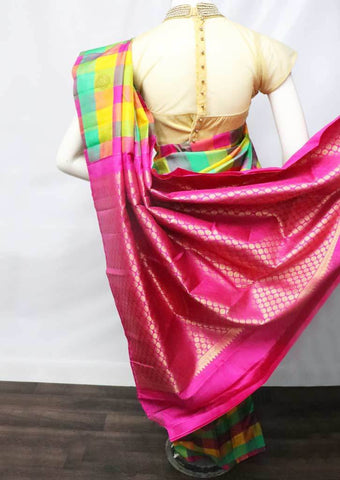 Multi color Checked  Kanchipuram Silk Saree -9KA6250 ARRS Silks