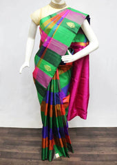 Multi color checked Kanchipuram Silk Saree -9KA6264 ARRS Silks