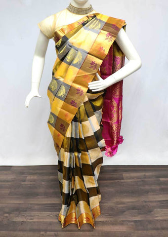 Multi color checked Kanchipuram Silk Saree -EY810 ARRS Silks