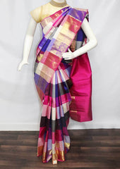 Multi color Checked  Kanchipuram Silk Saree -FT20359 ARRS Silks