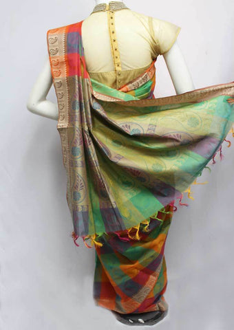 Multi Color Checked Pure Cotton Saree - FP54001 ARRS Silks