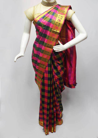 Multi color Checked Semi Silk Saree- FQ88370 ARRS Silks