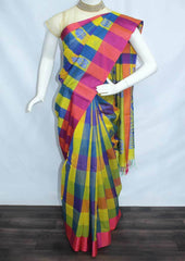 Multi Color Checked Silk Cotton Saree - FP39797 ARRS Silks